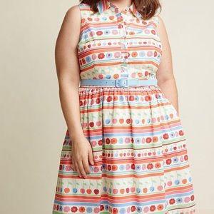 MODCLOTH Flowers Cherries & Stripes Shirt Dress